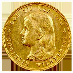 Gouden-tien-gulden-wilhelmina-loshangend-haar