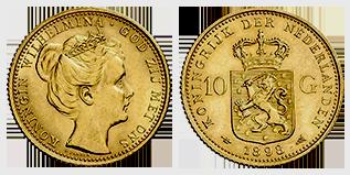 koningin-wilhelmina-gouden-10-gulden-inhuldiging