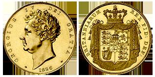 goud-5-pond-george-IV-Groot-Brittannië
