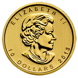 gouden-maple-leaf-10-dollar-1-4-oz-voorzijde