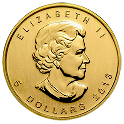 gouden-maple-leaf-5-dollar-1-10-oz-voorzijde