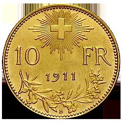 gouden-10-Francs-zwitserland-1911-helvetica