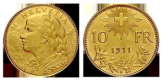 gouden-10-Francs-zwitserland-1911