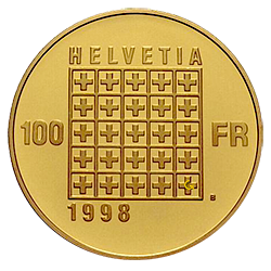 gouden-100-francs-1848-1998-zwitserland