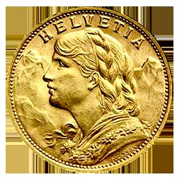 gouden-20-francs-zwitserland-type-II-vrenelli