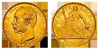 gouden-50-francs-10-Daler-Christian-IX-denemarken