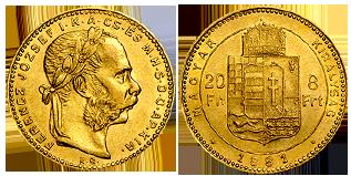 gouden-8-florint-20-francs-hongarije