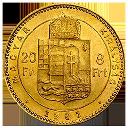 gouden-8-florint-20-francs-hungary-keerzijde
